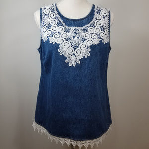 Vintage Denim Tank Sleeveless Top With Lace Detail